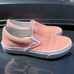 Peach classic slip on vans women's 5.5
